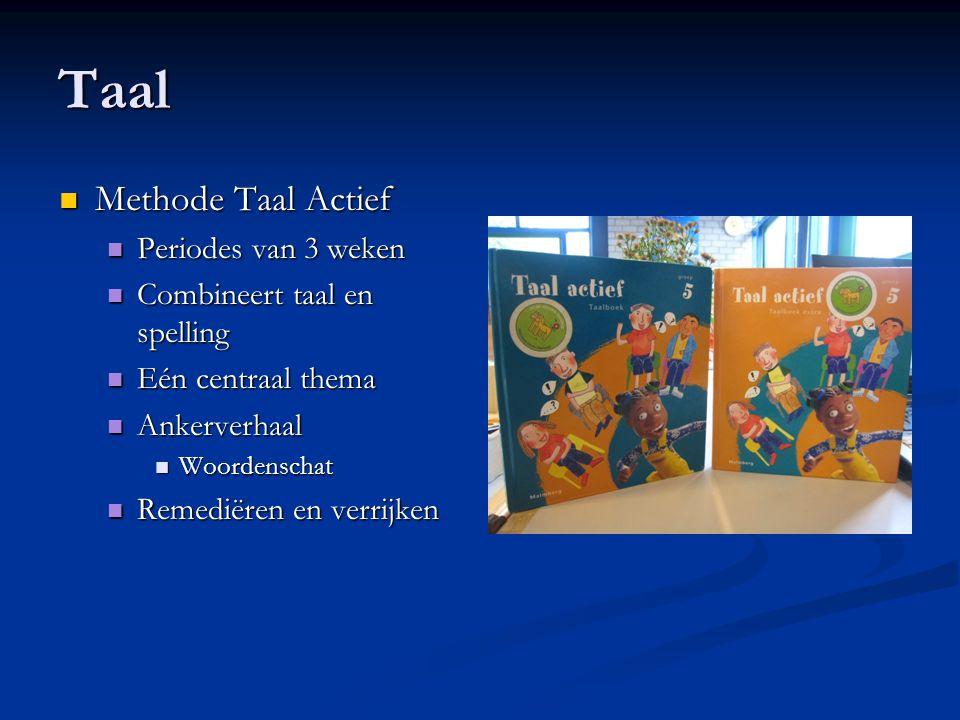 Taal Methode Taal Actief Methode Taal Actief Periodes van 3 weken Periodes van 3 weken Combineert taal en spelling Combineert taal en spelling Eén cen
