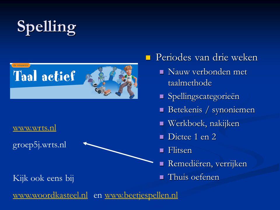 Spelling Periodes van drie weken Nauw verbonden met taalmethode Spellingscategorieën Betekenis / synoniemen Werkboek, nakijken Dictee 1 en 2 Flitsen R