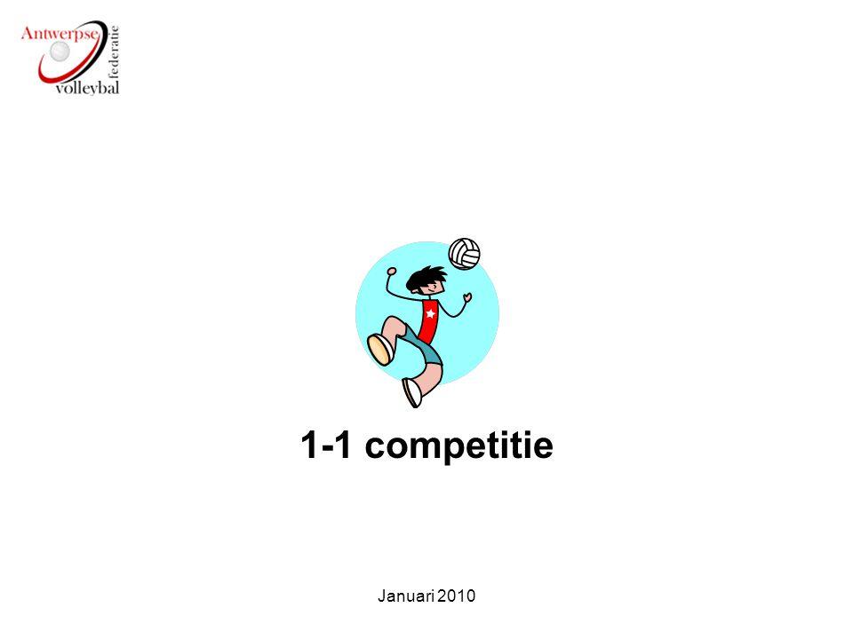 Doel 1-1 Aanbieden van wedstrijdjes voor starters Veel balcontacten Minimale verplaatsingen Spelen op hun niveau Januari 2010