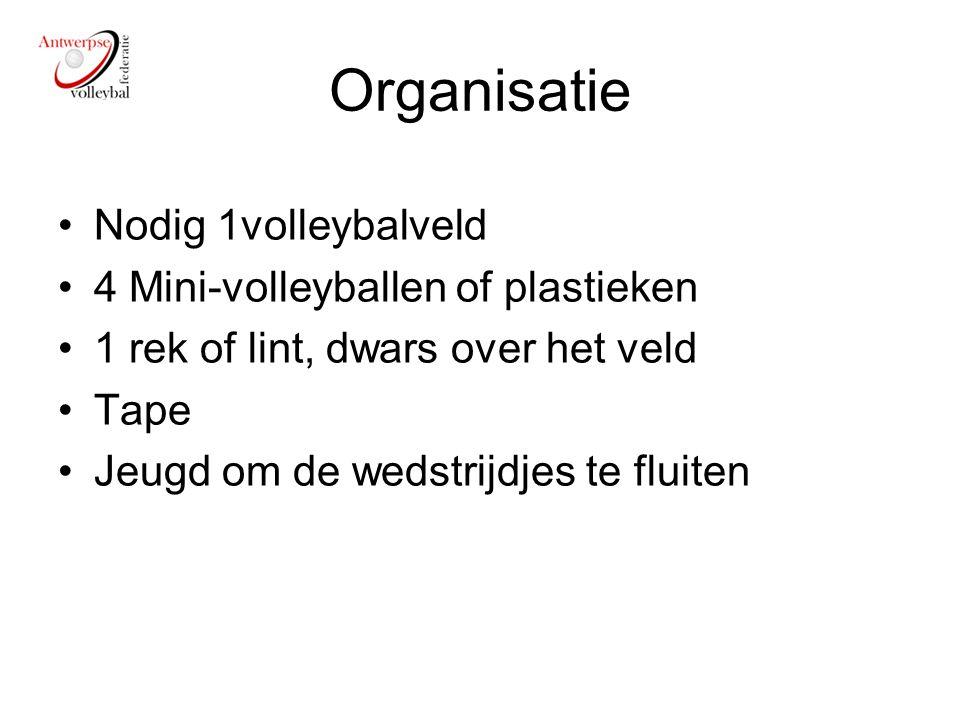 Organisatie Nodig 1volleybalveld 4 Mini-volleyballen of plastieken 1 rek of lint, dwars over het veld Tape Jeugd om de wedstrijdjes te fluiten