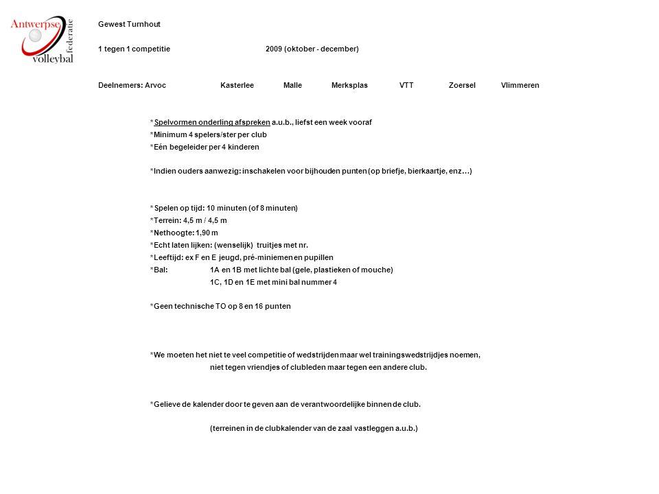 Gewest Turnhout 1 tegen 1 competitie2009 (oktober - december) Deelnemers: ArvocKasterleeMalleMerksplasVTTZoerselVlimmeren *Spelvormen onderling afspre