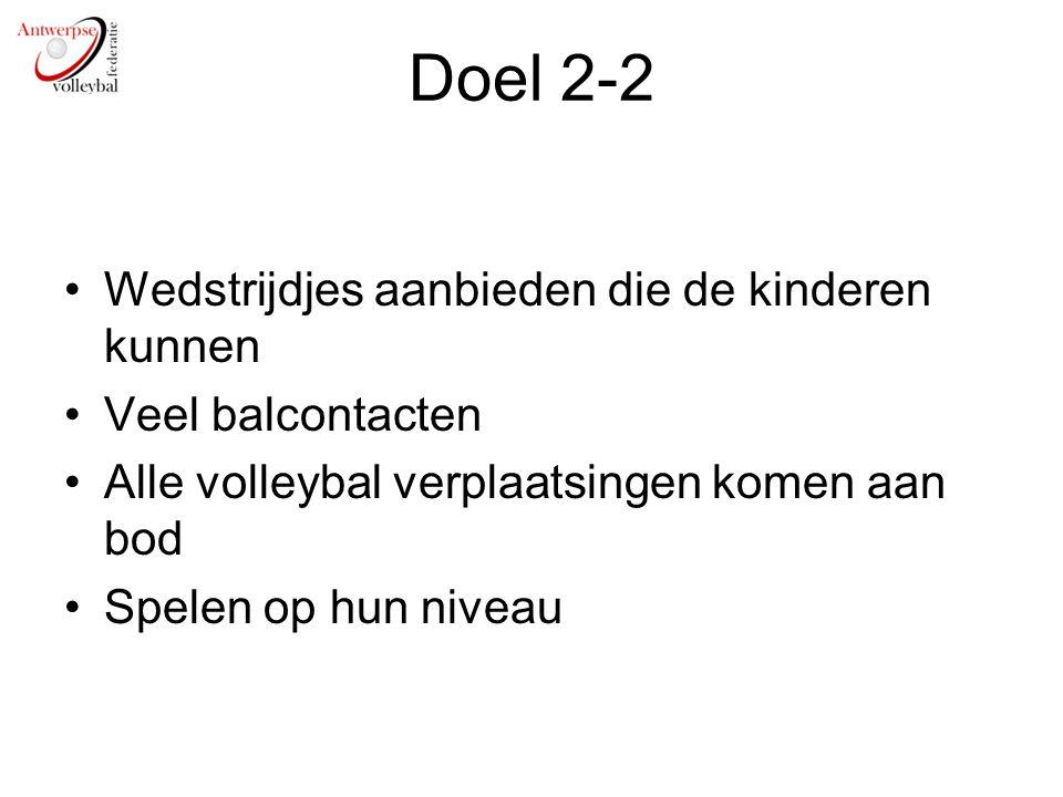 Doel 2-2 Wedstrijdjes aanbieden die de kinderen kunnen Veel balcontacten Alle volleybal verplaatsingen komen aan bod Spelen op hun niveau