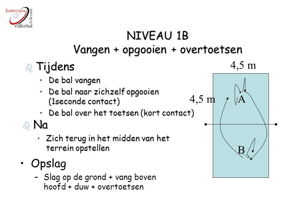 NIVEAU 1B Vangen + opgooien + overtoetsen A B 4,5 m b Tijdens De bal vangenDe bal vangen De bal naar zichzelf opgooien (1seconde contact)De bal naar z