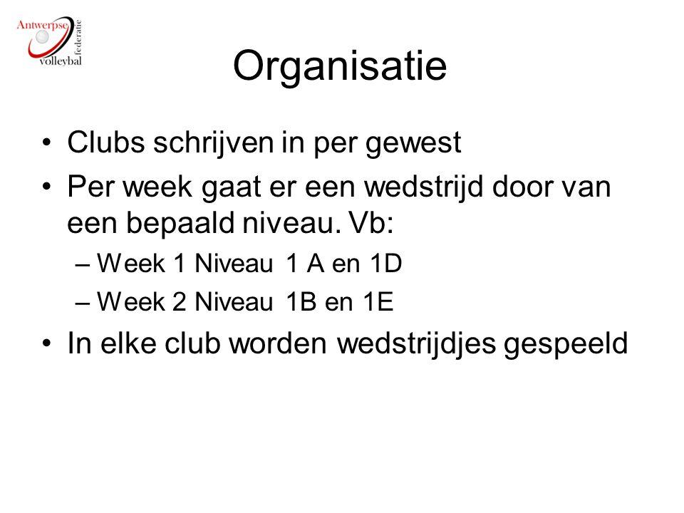 Organisatie Clubs schrijven in per gewest Per week gaat er een wedstrijd door van een bepaald niveau. Vb: –Week 1 Niveau 1 A en 1D –Week 2 Niveau 1B e