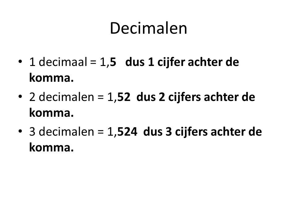 Decimalen 1 decimaal = 1,5 dus 1 cijfer achter de komma. 2 decimalen = 1,52 dus 2 cijfers achter de komma. 3 decimalen = 1,524 dus 3 cijfers achter de