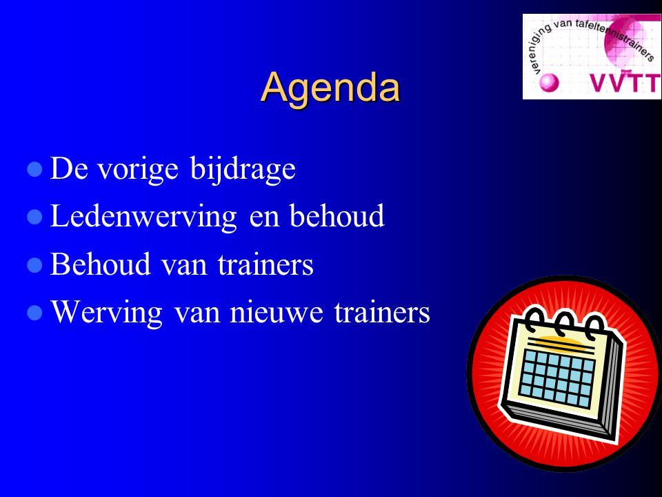 Agenda De vorige bijdrage Ledenwerving en behoud Behoud van trainers Werving van nieuwe trainers