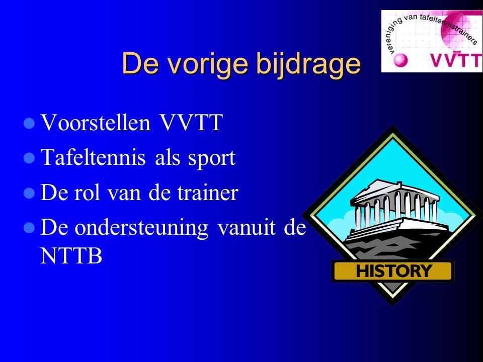 De vorige bijdrage Voorstellen VVTT Tafeltennis als sport De rol van de trainer De ondersteuning vanuit de NTTB