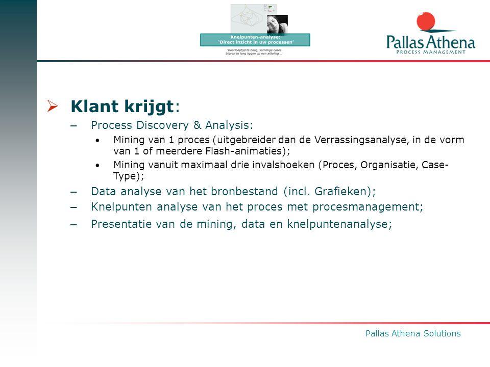 Pallas Athena Solutions  Klant krijgt: – Process Discovery & Analysis: Mining van 1 proces (uitgebreider dan de Verrassingsanalyse, in de vorm van 1