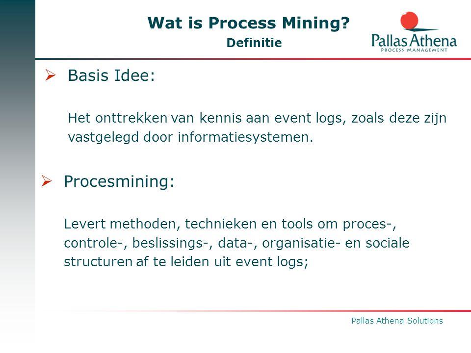 Pallas Athena Solutions Wat is Process Mining? Definitie  Basis Idee: Het onttrekken van kennis aan event logs, zoals deze zijn vastgelegd door infor