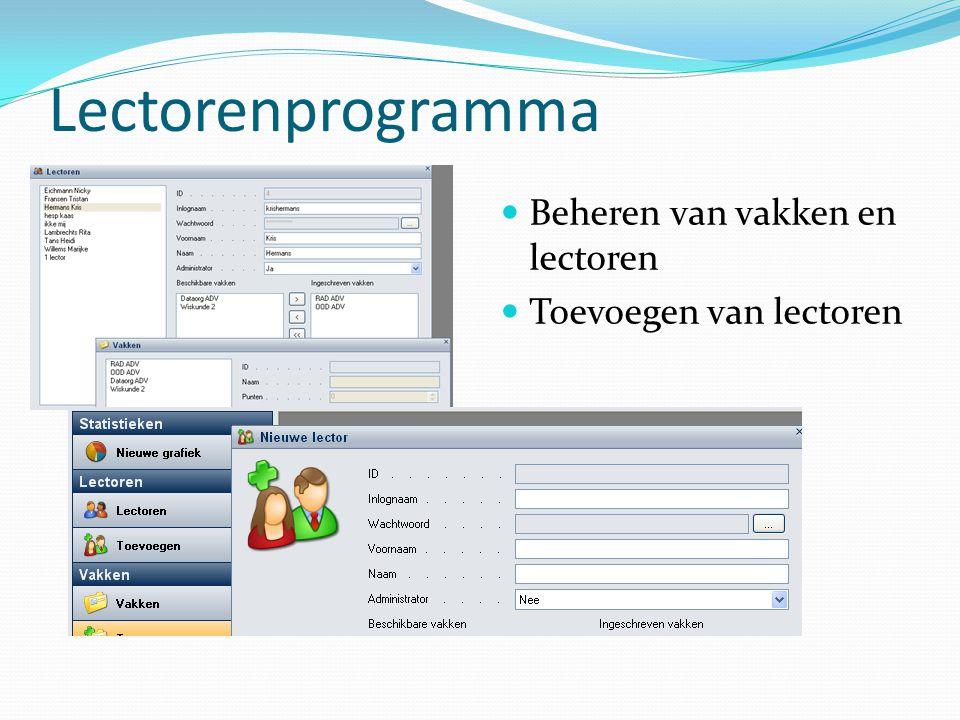 Lectorenprogramma Aanmelden van de lector Opgebouwd uit een data acces, business logic en presentation layer.