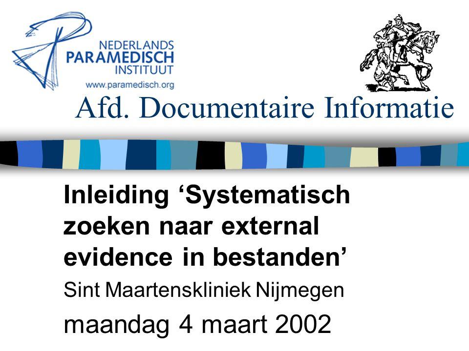 4 maart 2002 Nederlands Paramedisch Instituut Systematisch literatuur zoeken Voorbeeld gericht zoeken MEDLINE 2000-heden zoeken met indextermen (MeSH): ( Brain-Injuries / all subheadings) and ([…]) and ((explode Clinical-Trials /all subheadings) or ( Meta- Analysis ) or (RANDOMIZED-CONTROLLED-TRIAL in pt) or (META-ANALYSIS in pt) or ((RANDOMIZED-CONTROLLED- TRIAL in pt) or (META-ANALYSIS in pt))) and (english in la or dutch in la) N.B.: door het explode commando wordt ook gezocht op de narrower terms als CCTs, multicenter studies en RCTs.