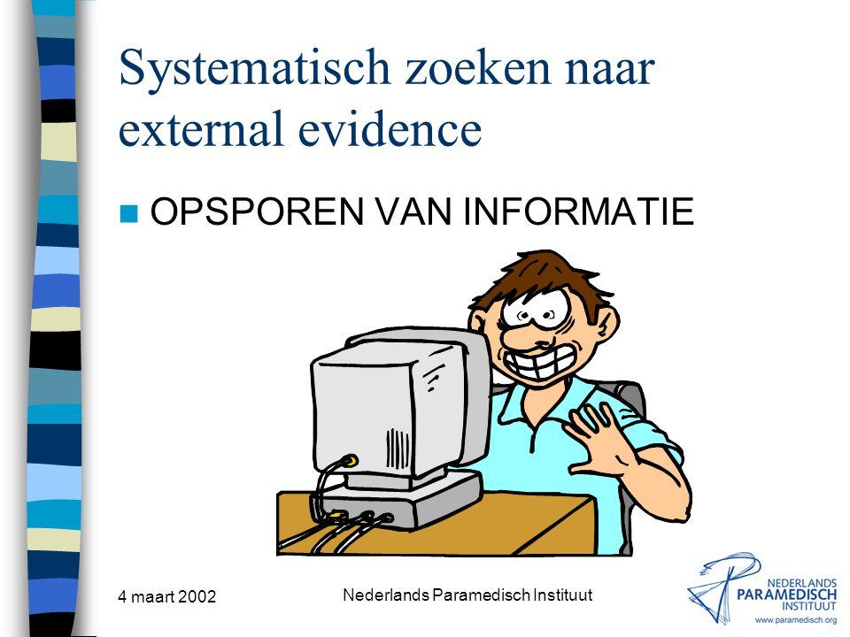 4 maart 2002 Nederlands Paramedisch Instituut Systematisch zoeken naar external evidence OPSPOREN VAN INFORMATIE