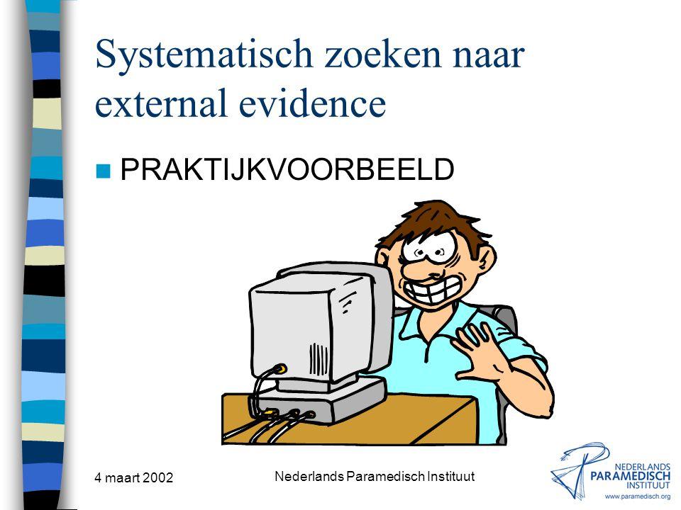 4 maart 2002 Nederlands Paramedisch Instituut Systematisch zoeken naar external evidence PRAKTIJKVOORBEELD