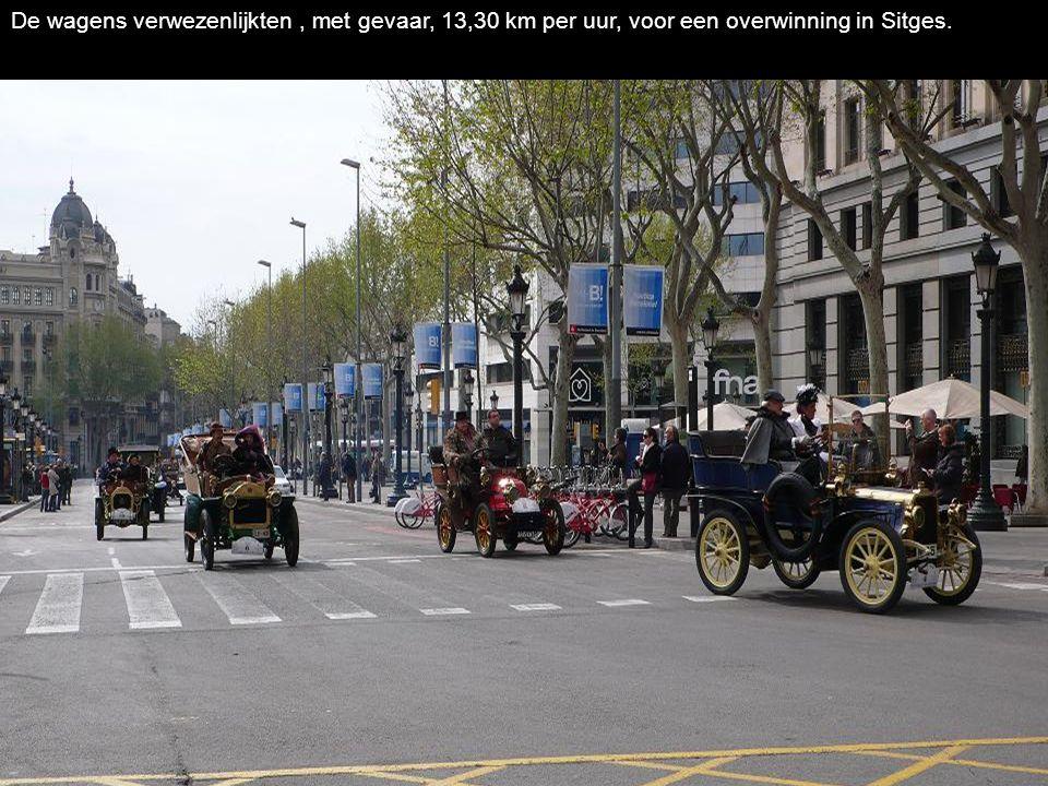 De wagens verwezenlijkten, met gevaar, 13,30 km per uur, voor een overwinning in Sitges.