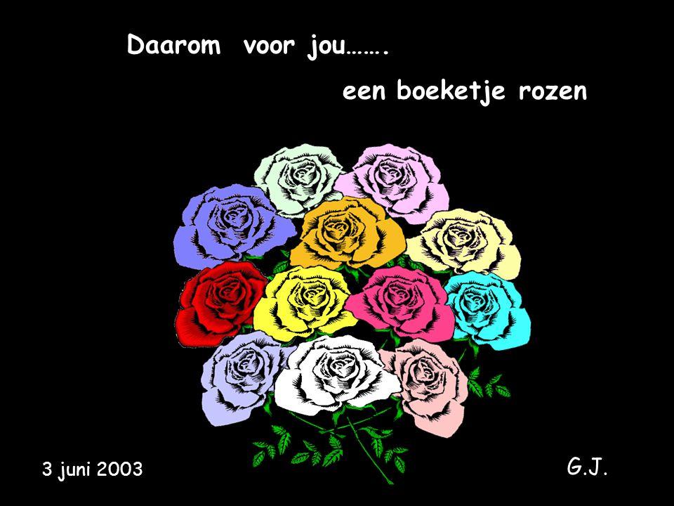 Daarom voor jou……. een boeketje rozen 3 juni 2003 G.J.