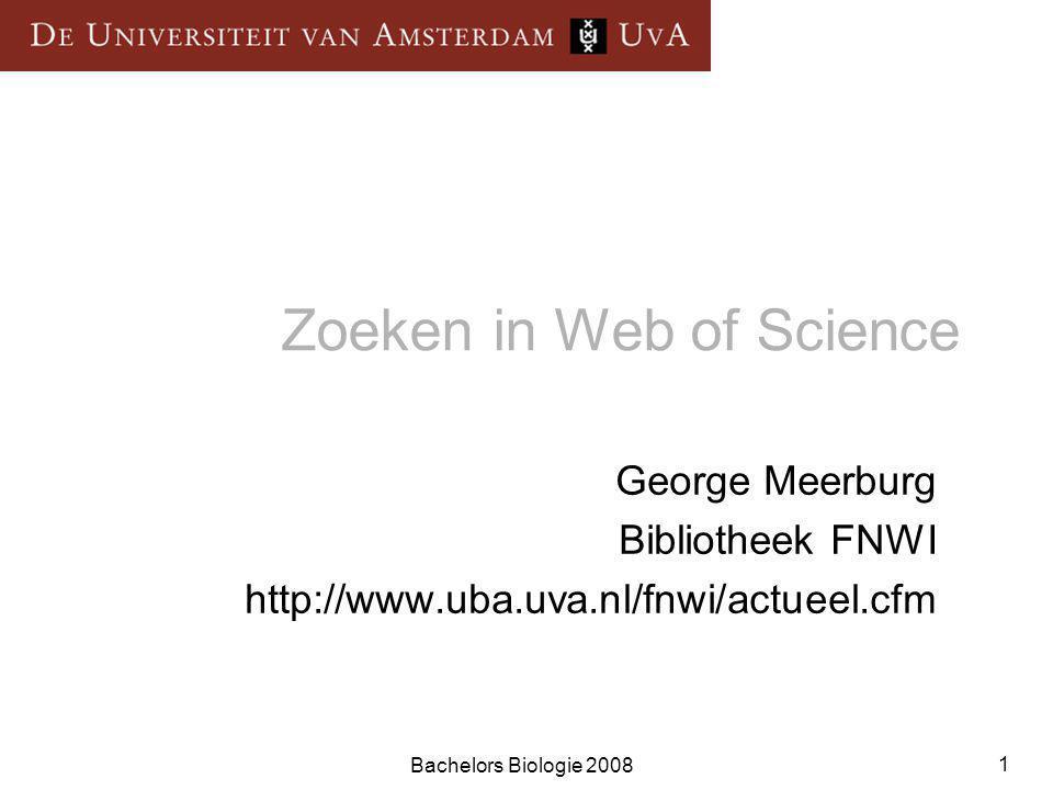 Bachelors Biologie 2008 12 2004 Cited References 2000 1998 2001 1993 2003 Times Cited Related Records 2003 2004 1999 2002 1994 2004  Citeren  Vanuit een enkel record binnen Web of Science, kun je je zoektocht uitbreiden door de links te volgen.