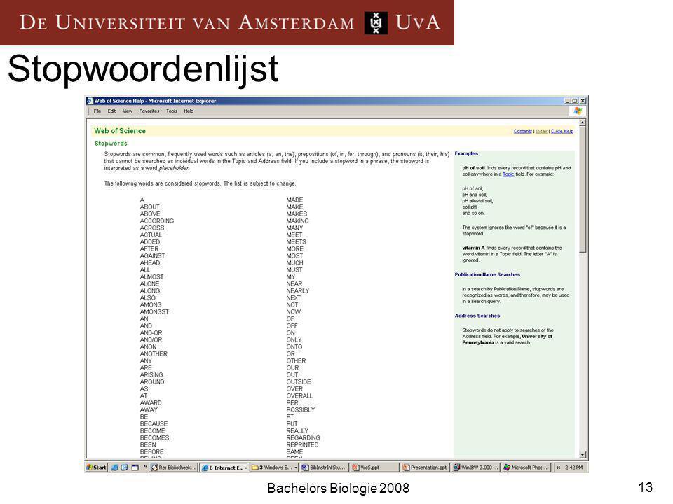 Bachelors Biologie 2008 13 Stopwoordenlijst