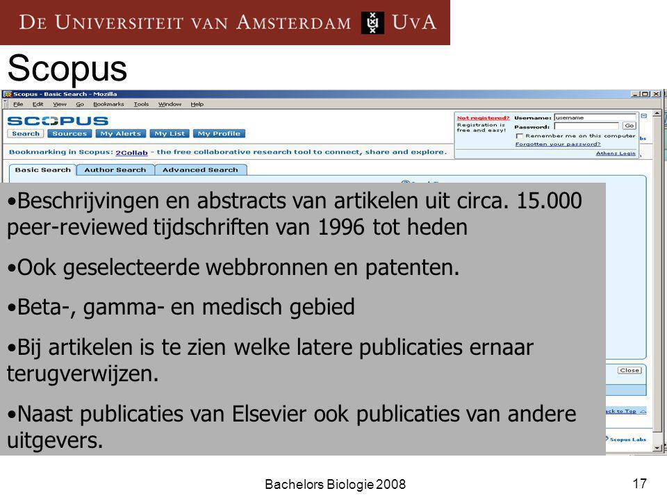 Bachelors Biologie 2008 17 Scopus Beschrijvingen en abstracts van artikelen uit circa.