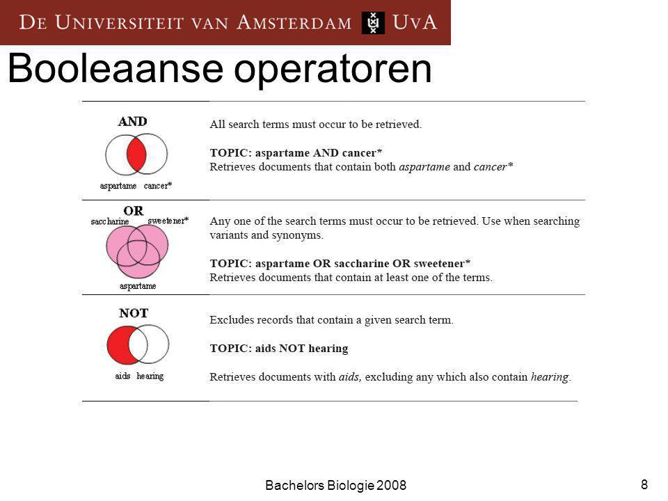 Bachelors Biologie 2008 9 Handig om te weten Zoeken op samengestelde begrippen Phrase Search Voorbeeld: evolutionary branching Nabijheidsoperatoren SAME = zoektermen komen in de zelfde zin voor.