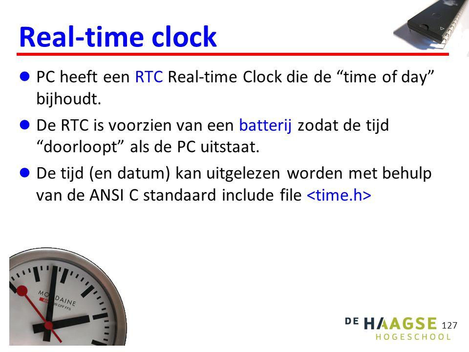 128 Types: time_t (een 32 bits integer).struct tm (een struct).