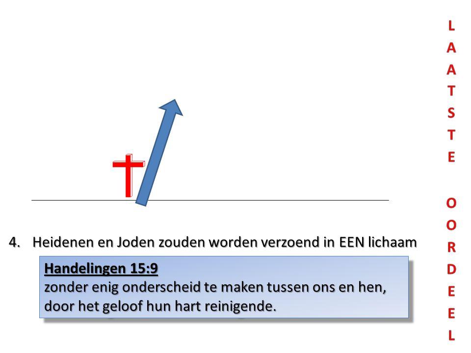 4.Heidenen en Joden zouden worden verzoend in EEN lichaam Handelingen 15:9 zonder enig onderscheid te maken tussen ons en hen, door het geloof hun har