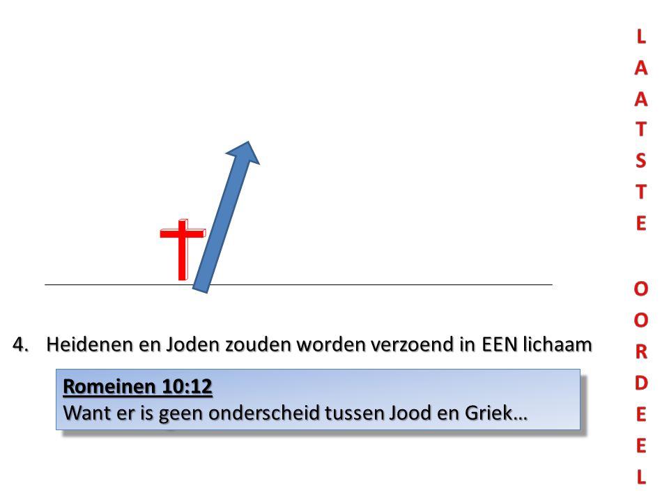 4.Heidenen en Joden zouden worden verzoend in EEN lichaam Romeinen 10:12 Want er is geen onderscheid tussen Jood en Griek… Romeinen 10:12 Want er is g