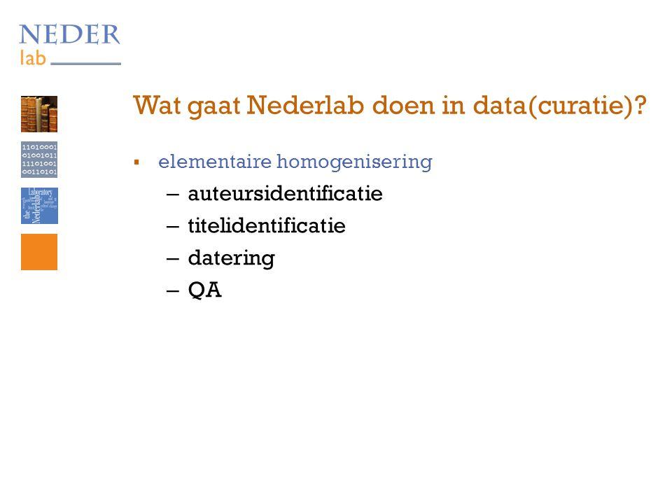 Wat gaat Nederlab doen in data(curatie).