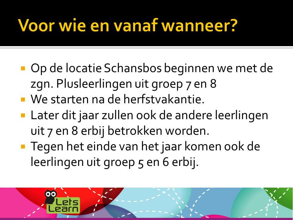  Op de locatie Schansbos beginnen we met de zgn.