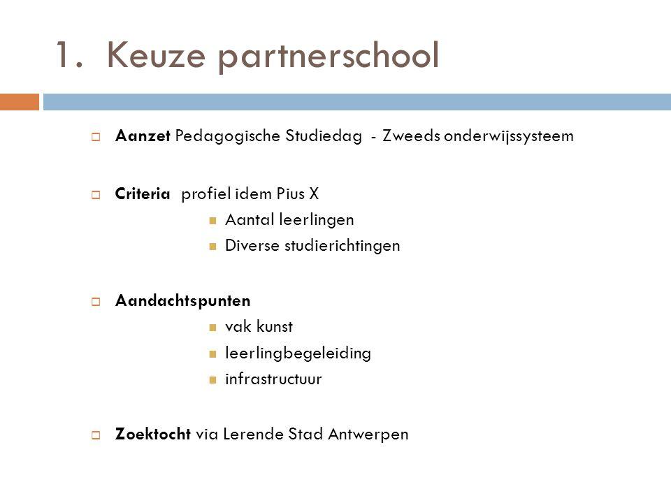 1.Keuze partnerschool  Aanzet Pedagogische Studiedag - Zweeds onderwijssysteem  Criteria profiel idem Pius X Aantal leerlingen Diverse studierichtingen  Aandachtspunten vak kunst leerlingbegeleiding infrastructuur  Zoektocht via Lerende Stad Antwerpen