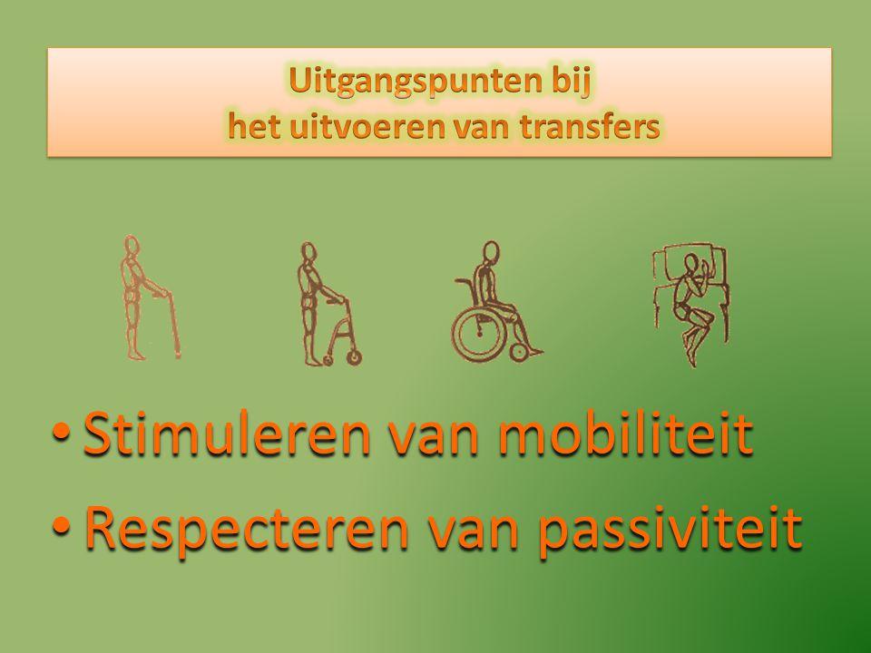 Stimuleren van mobiliteit Stimuleren van mobiliteit Respecteren van passiviteit Respecteren van passiviteit