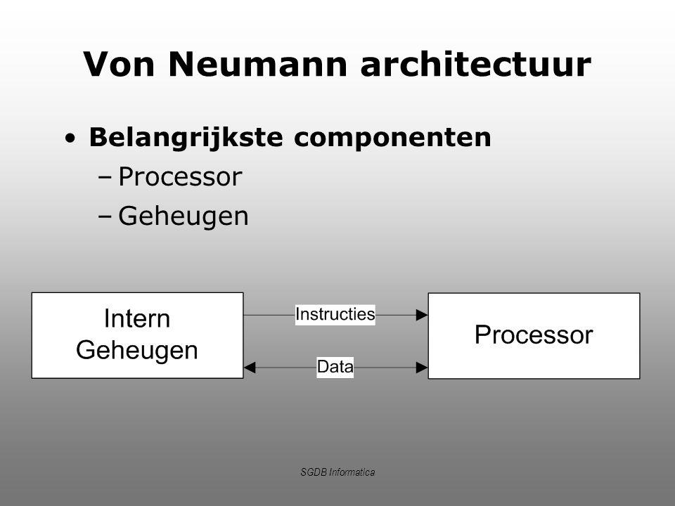 SGDB Informatica Instructiecyclus Ophalen instructie Uitvoeren instructie Analyseren instructie 1.De Control Unit haalt instructie op waar de programcounter naar verwijst en zet deze in het instructieregister.