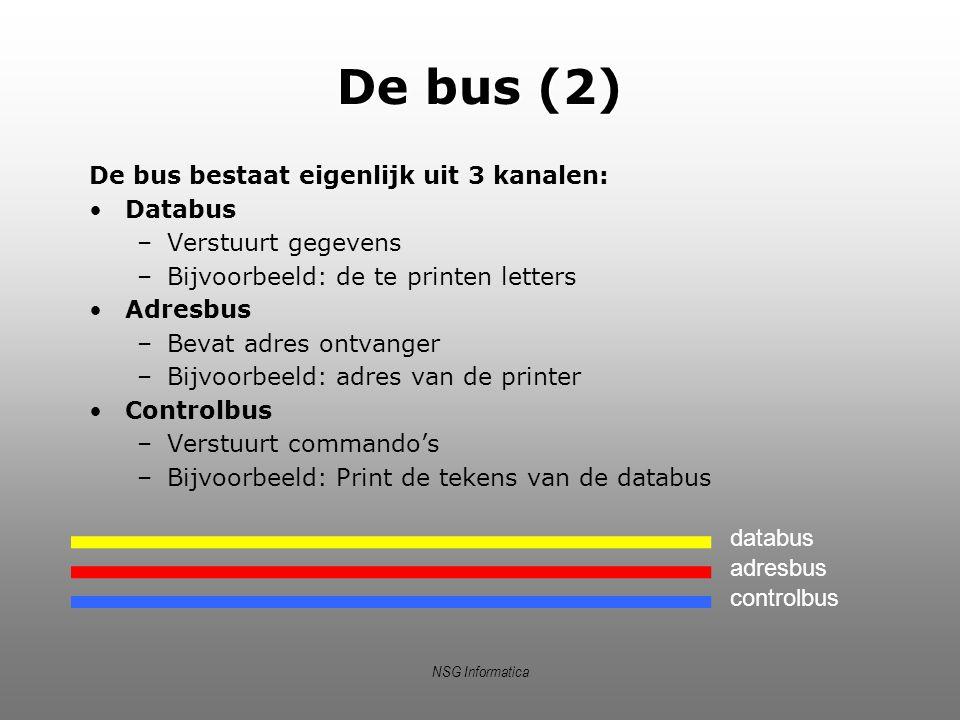 NSG Informatica Bus (3) Verkeer op de bus wordt geregeld door busarbiter Een transactie moet (via controlbus) worden aangevraagd Bus wordt gedreven door een klok Elke tik vindt één buscyclus plaats: –Zender zet data op bus –Ontvanger leest van bus –Bus wordt leeggemaakt
