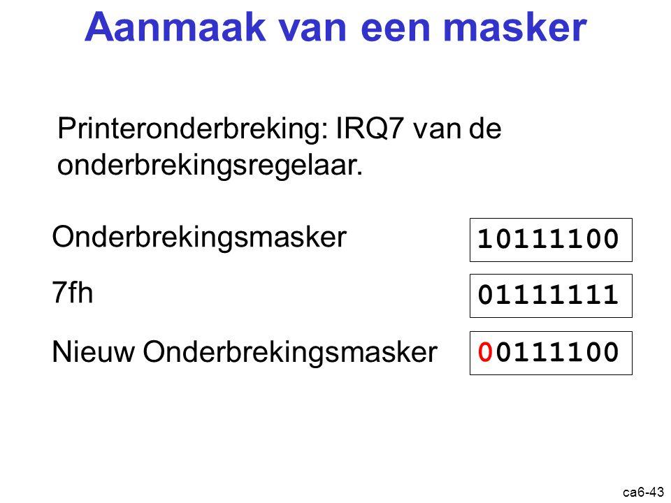 ca6-43 Printeronderbreking : IRQ7 van de onderbrekingsregelaar. 10111100 Onderbrekingsmasker 7fh 01111111 00111100 Nieuw Onderbrekingsmasker Aanmaak v
