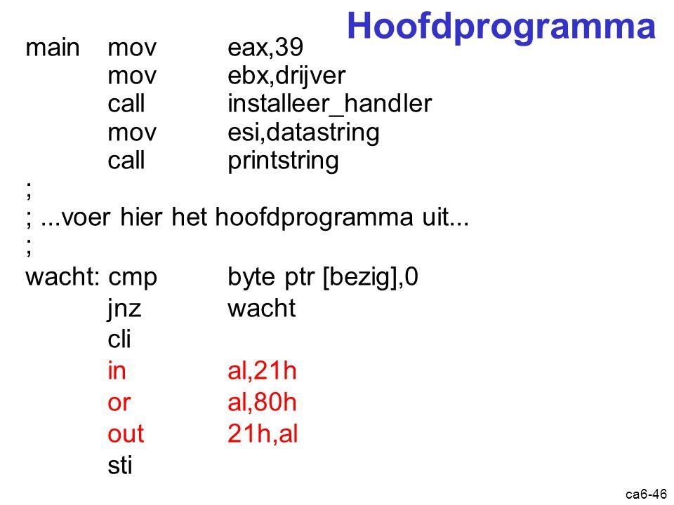 ca6-46 Hoofdprogramma main mov eax,39 mov ebx,drijver call installeer_handler mov esi,datastring call printstring ; ;...voer hier het hoofdprogramma u