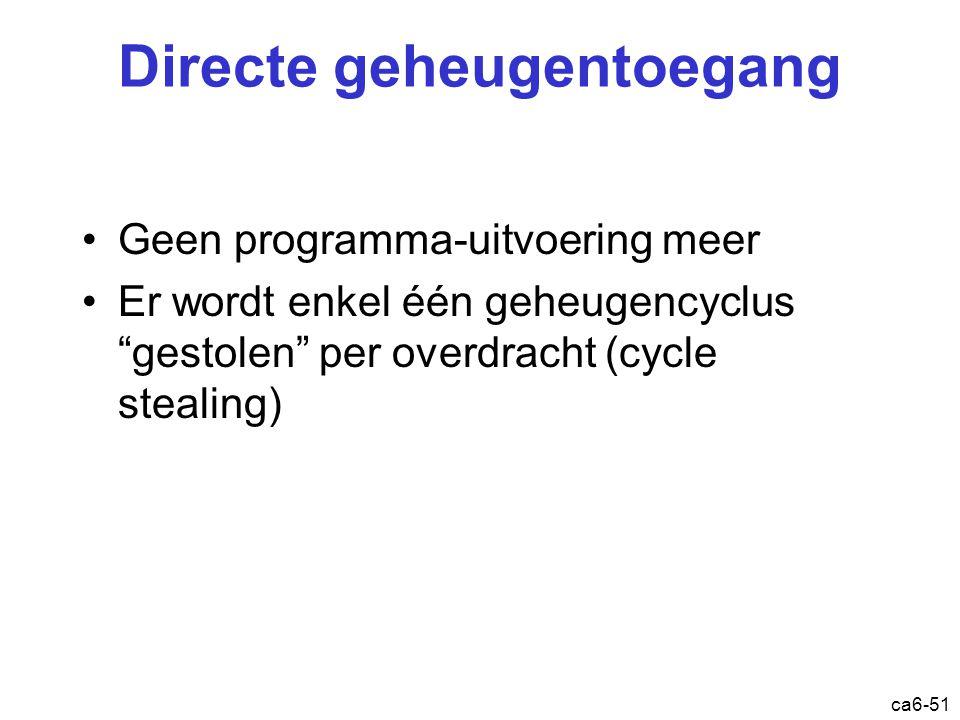 """ca6-51 Directe geheugentoegang Geen programma-uitvoering meer Er wordt enkel één geheugencyclus """"gestolen"""" per overdracht (cycle stealing)"""