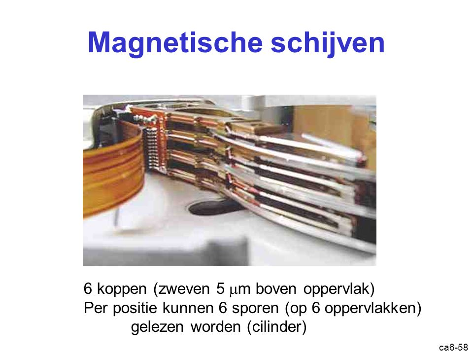 ca6-58 Magnetische schijven 6 koppen (zweven 5  m boven oppervlak) Per positie kunnen 6 sporen (op 6 oppervlakken) gelezen worden (cilinder)