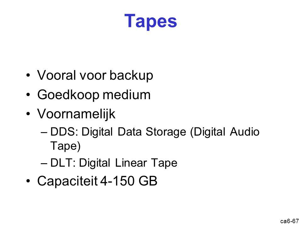 ca6-67 Tapes Vooral voor backup Goedkoop medium Voornamelijk –DDS: Digital Data Storage (Digital Audio Tape) –DLT: Digital Linear Tape Capaciteit 4-15