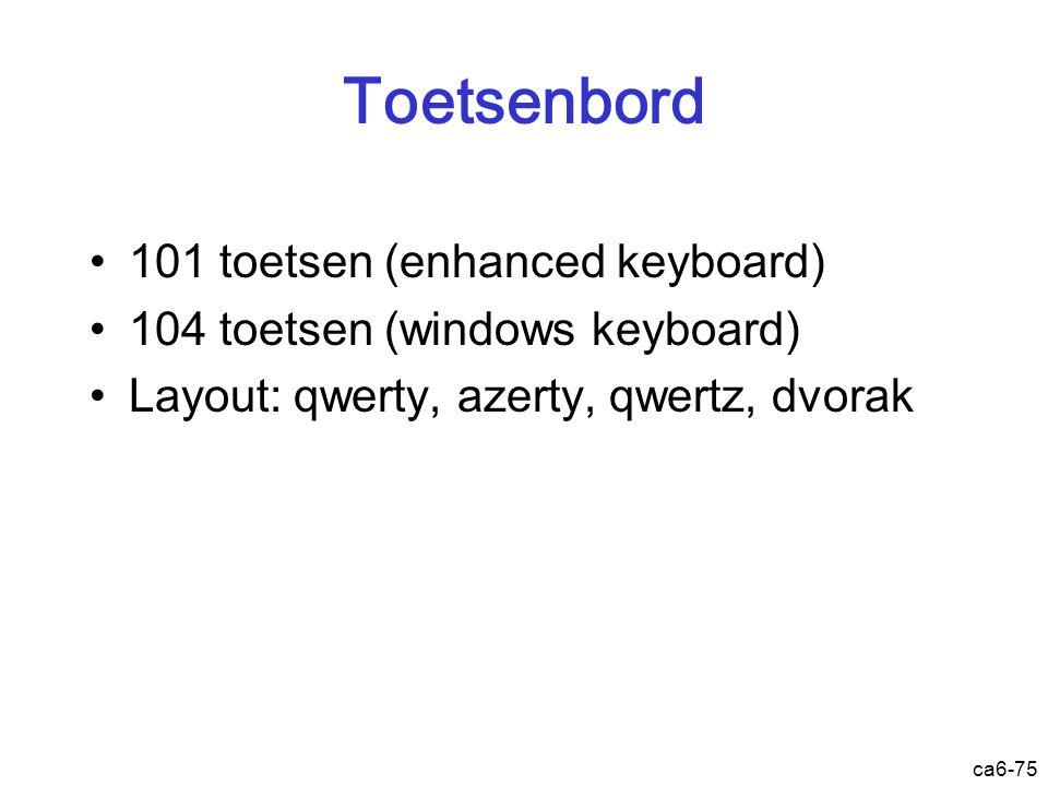 ca6-75 Toetsenbord 101 toetsen (enhanced keyboard) 104 toetsen (windows keyboard) Layout: qwerty, azerty, qwertz, dvorak