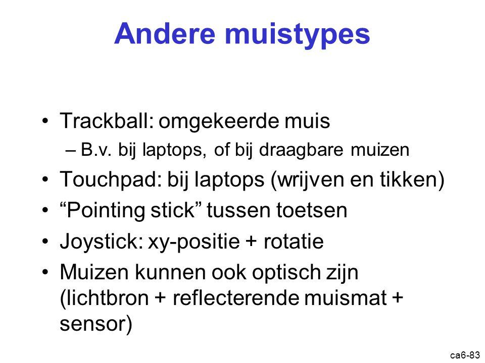 """ca6-83 Andere muistypes Trackball: omgekeerde muis –B.v. bij laptops, of bij draagbare muizen Touchpad: bij laptops (wrijven en tikken) """"Pointing stic"""