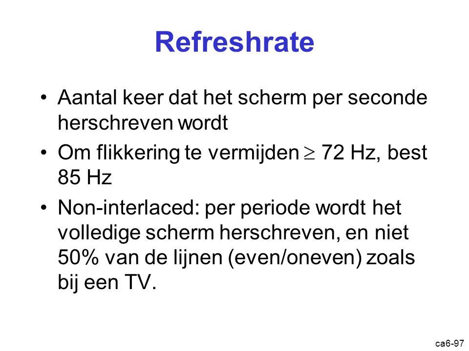 ca6-97 Refreshrate Aantal keer dat het scherm per seconde herschreven wordt Om flikkering te vermijden  72 Hz, best 85 Hz Non-interlaced: per periode