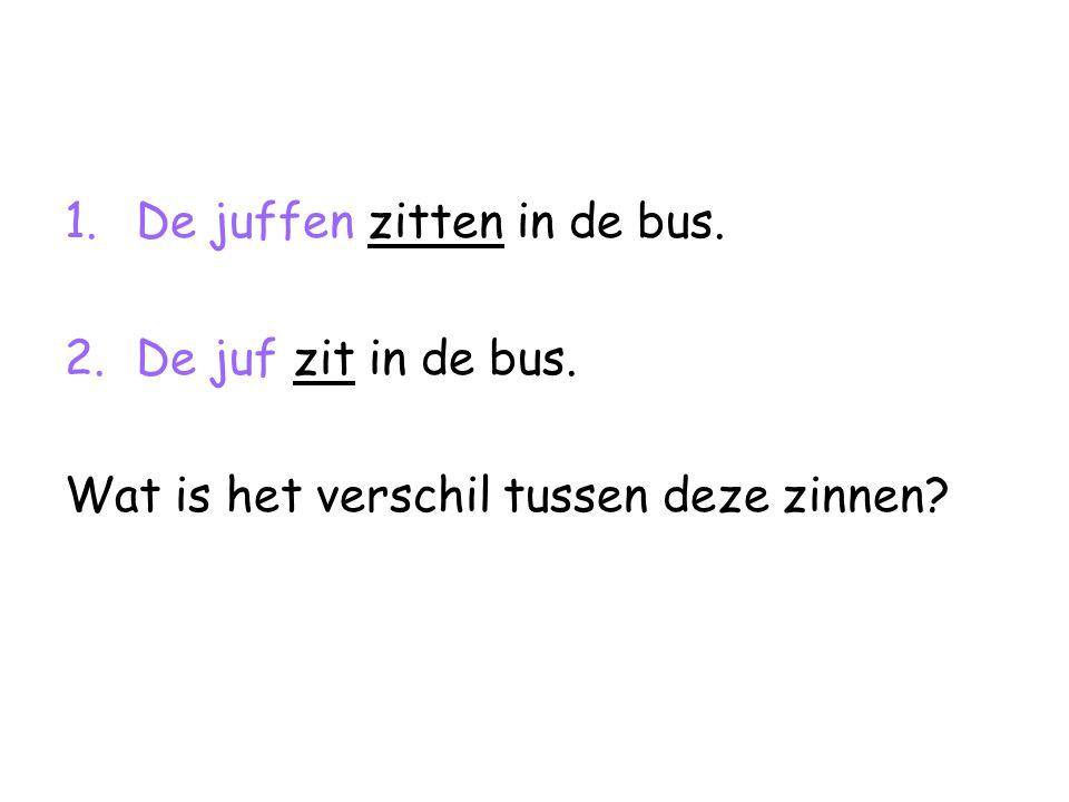 1.De juffen zitten in de bus. 2.De juf zit in de bus. Wat is het verschil tussen deze zinnen?