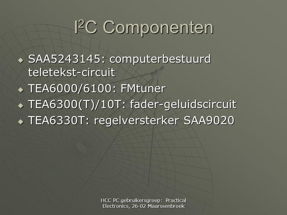 HCC PC gebruikersgroep: Practical Electronics, 26-02 Maarssenbroek I 2 C Componenten  SAA5243145: computerbestuurd teletekst-circuit  TEA6000/6100: FMtuner  TEA6300(T)/10T: fader-geluidscircuit  TEA6330T: regelversterker SAA9020