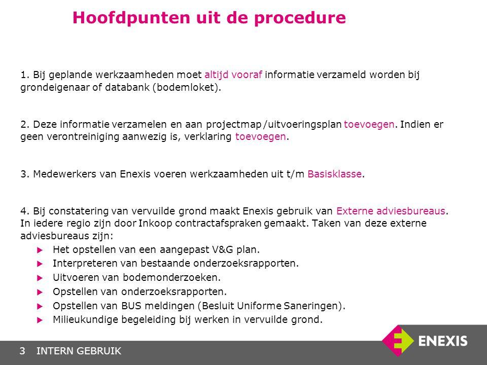 INTERN GEBRUIK3 Hoofdpunten uit de procedure 1. Bij geplande werkzaamheden moet altijd vooraf informatie verzameld worden bij grondeigenaar of databan