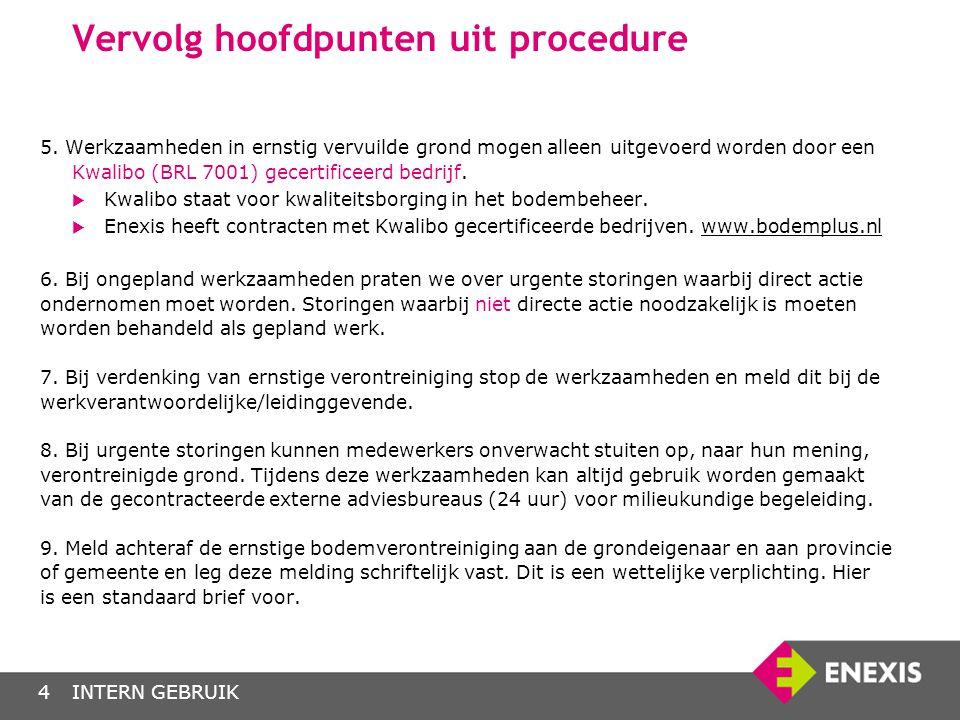 INTERN GEBRUIK4 Vervolg hoofdpunten uit procedure 5. Werkzaamheden in ernstig vervuilde grond mogen alleen uitgevoerd worden door een Kwalibo (BRL 700