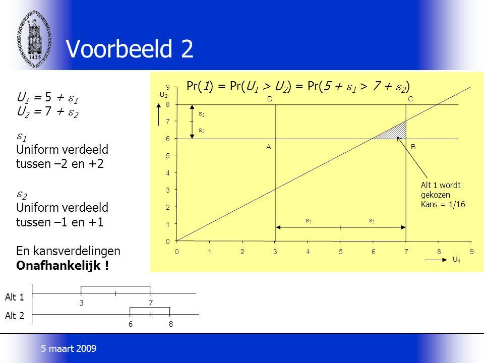Voorbeeld 2 U 1 = 5 +  1 U 2 = 7 +  2  1 Uniform verdeeld tussen –2 en +2  2 Uniform verdeeld tussen –1 en +1 En kansverdelingen Onafhankelijk ! P