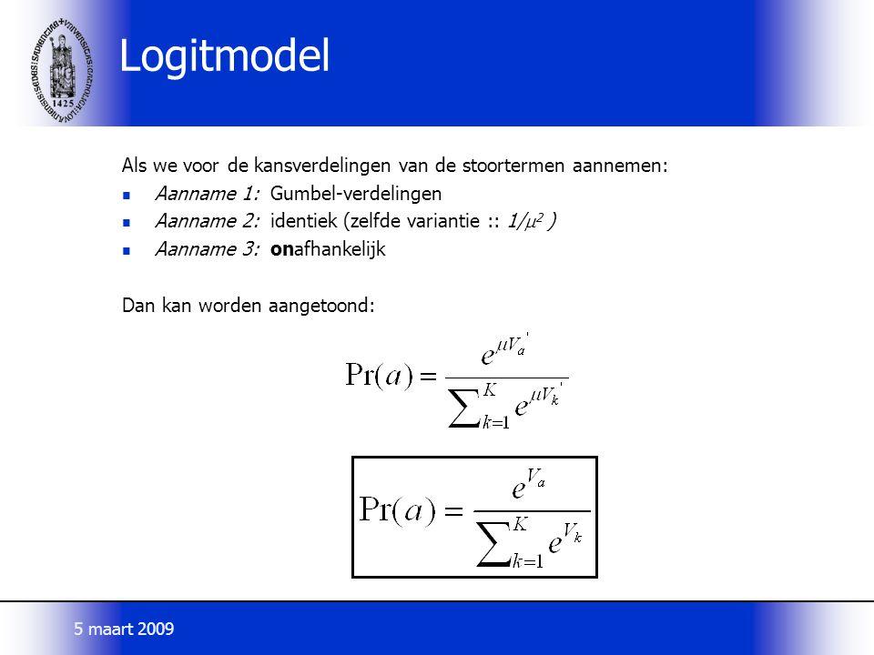 Logitmodel Als we voor de kansverdelingen van de stoortermen aannemen: Aanname 1: Gumbel-verdelingen Aanname 2: identiek (zelfde variantie :: 1/  2 )