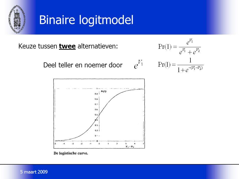 Binaire logitmodel Keuze tussen twee alternatieven: Deel teller en noemer door 5 maart 2009