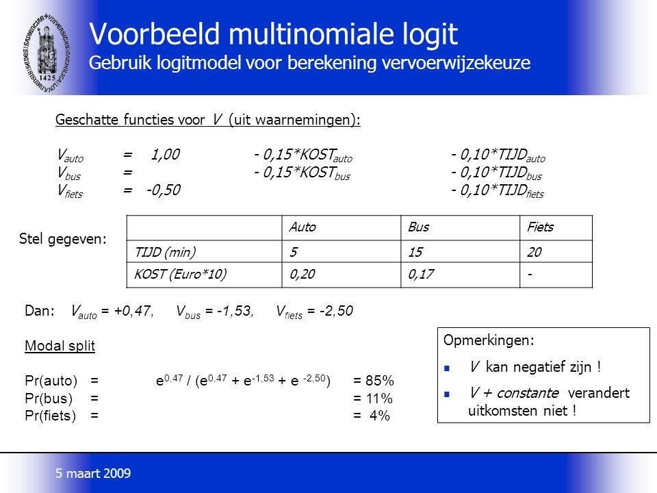 AutoBusFiets TIJD (min)51520 KOST (Euro*10)0,200,17- Dan: V auto = +0,47, V bus = -1,53, V fiets = -2,50 Modal split Pr(auto)=e 0,47 / (e 0,47 + e -1,53 + e -2,50 )= 85% Pr(bus)== 11% Pr(fiets)== 4% Geschatte functies voor V (uit waarnemingen): V auto = 1,00- 0,15*KOST auto - 0,10*TIJD auto V bus = - 0,15*KOST bus - 0,10*TIJD bus V fiets = -0,50- 0,10*TIJD fiets Voorbeeld multinomiale logit Gebruik logitmodel voor berekening vervoerwijzekeuze Opmerkingen: V kan negatief zijn .
