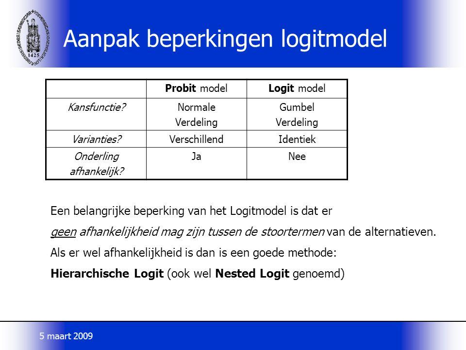 Aanpak beperkingen logitmodel Probit modelLogit model Kansfunctie?Normale Verdeling Gumbel Verdeling Varianties?VerschillendIdentiek Onderling afhankelijk.