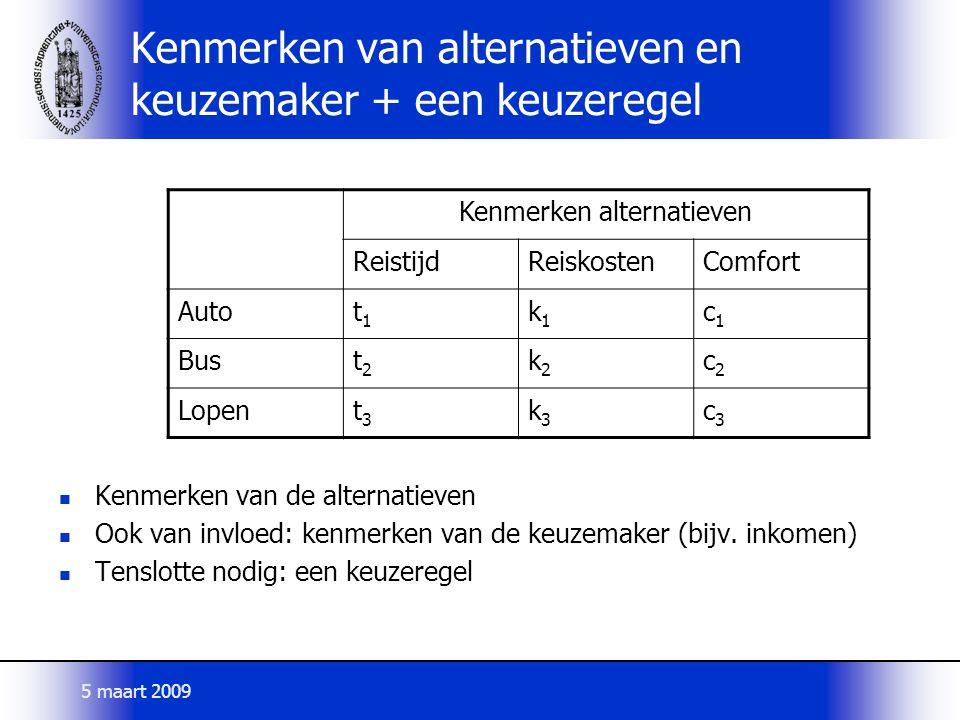 Kenmerken van alternatieven en keuzemaker + een keuzeregel Kenmerken van de alternatieven Ook van invloed: kenmerken van de keuzemaker (bijv. inkomen)